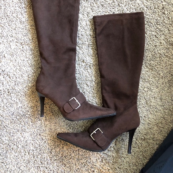 746493c445b Chocolate/Dark Brown Suede High Heeled boots.